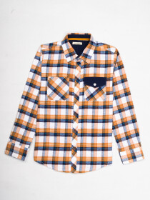 Boys White & Yellow plaid full  Sleeve Flannel Shirt