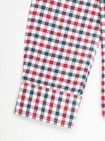 Boys White & Pink Plaid Full  Sleeve Flannel Shirt