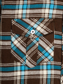 Boys White & Coffee Brown Plaid Full Sleeve Flannel Shirt