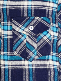 Boys White & Navy Blue Plaid Full Sleeve Flannel Shirt