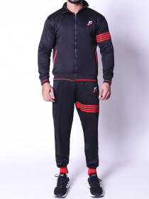 FIREOX Activewear Tracksuit, Black Red, D2
