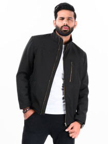 Black Stand Up Collar Soft Shell Men's Jacket