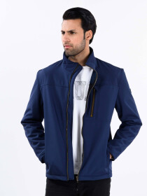 Navy Blue Stand Up Collar Soft Shell Men's Jacket