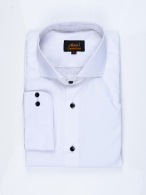 Men Cotton White Full Sleeve Plain Formal Shirt