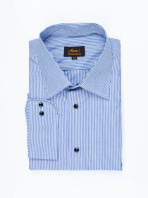 Men Cotton Blue Full Sleeve Plain Formal Shirt