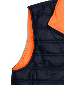 Navy Blue/Orange Sleeveless Puffer Gilet Jacket