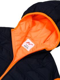 Navy Blue/Orange Sleeveless hooded Puffer Gilet Jacket