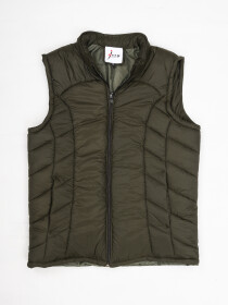 Men Olive Sleeveless Puffer Gilet Jacket