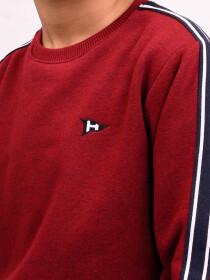 Little Boy Burgundy Crewneck Fleece Sweatsuit