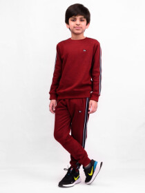 Big Boy Burgundy Fleece Crewneck Sweatsuit
