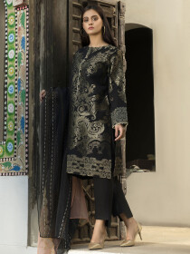 Black Printed Jacquard Unstitched 2 Piece Suit for Women