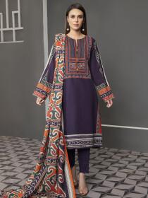 Blue Printed Slub Khaddar Unstitched 2Piece Suit for Women