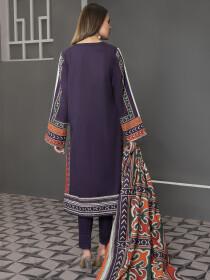 Purple Printed Slub Khaddar Unstitched 2Piece Suit for Women