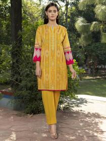 Yellow Printed Slub Khaddar Unstitched Shirt for Women