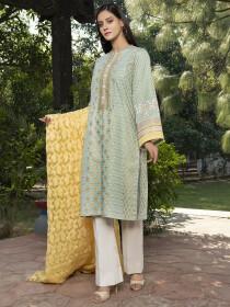 Mint Printed Slub Khaddar Unstitched 2 Piece Suit for Women
