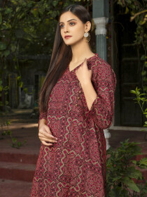 Red Printed Slub Khaddar Unstitched Shirt for Women