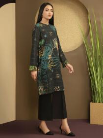 Black Printed Slub Khaddar Unstitched Shirt for Women