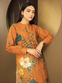 Orange Printed Slub Khaddar Unstitched Shirt for Women