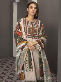 Off White Printed Slub Khaddar Unstitched 2 Piece Suit for Women
