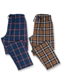 Men's Navy & Brown Flannel Relaxed Pajama - Pack of 2