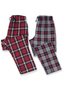 Men's Maroon & Grey Flannel Relaxed Pajama - Pack of 2