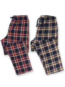 Men's Burgundy & Navy Flannel Relaxed Pajama - Pack of 2