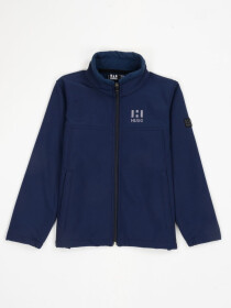 Navy Blue Stand Up Collar Soft Shell Little Boy Jacket