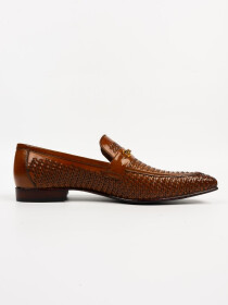 Men's Genuine Brown interlacing LeatherHandmade Shoes