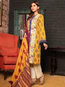 Red Printed Slub Khaddar Unstitched 2 Piece Suit for Women