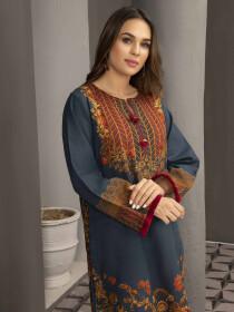 Blue Printed Slub Khaddar Unstitched Shirt for Women