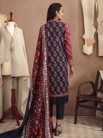 Blue Printed Winter Cotton Unstitched 2 Piece Suit for Women