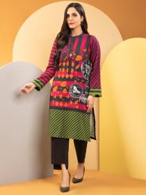 Pink Printed Slub Khaddar Unstitched Shirt for Women