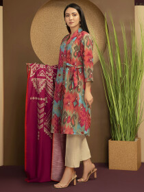 Pink Printed Slub Khaddar Unstitched 2 Piece Suit for Women