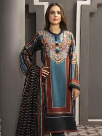 Black Printed Slub Khaddar Unstitched 2 Piece Suit for Women