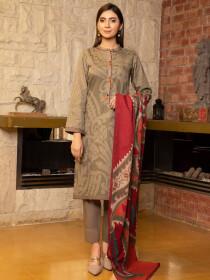 Beige Printed Slub Khaddar Unstitched 3 Piece Suit for Women