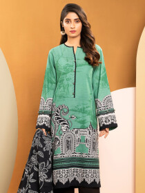 Sea Green Printed Slub Khaddar Unstitched 2 Piece Suit for Women