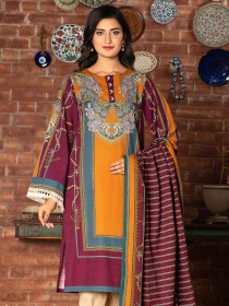 Plum Printed Slub Khaddar Unstitched 2 Piece Suit for Women