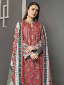 Pink Printed Winter Cotton Unstitched 2 Piece Suit for Women