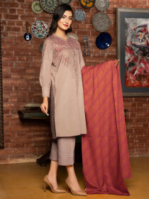 Beige Printed Slub Khaddar Unstitched 2 Piece Suit for Women