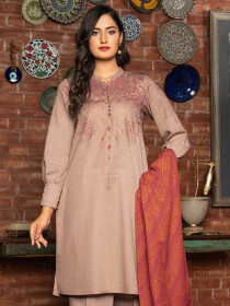 Beige Printed Slub Khaddar Unstitched 2 Piece Suit for Women