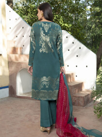 Bottle Green Printed Jacquard Unstitched 2 Piece Suit for Women