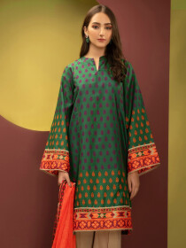 Green Printed Cambric Unstitched 2 Piece Suit for Women