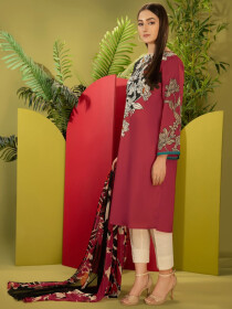 Red Printed Cambric Unstitched 2 Piece Suit for Women