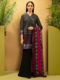 Black Printed Cambric Unstitched 2 Piece Suit for Women