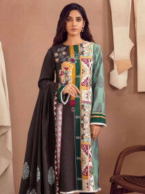 Brown Printed Slub Khaddar Unstitched 2 Piece Suit for Women