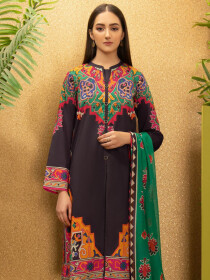 Brown Printed Cambric Unstitched 2 Piece Suit for Women