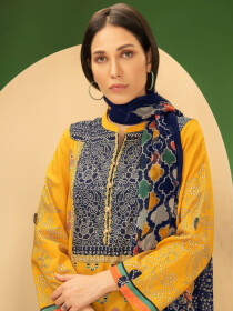 Ochre Printed Cambric Unstitched 2 Piece Suit for Women