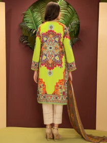 Olive Printed Cambric Unstitched 2 Piece Suit for Women