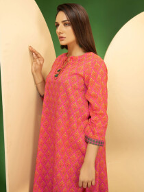 Pink Cambric Unstitched Shirt for Women