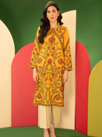 Yellow Cambric Unstitched Shirt for Women